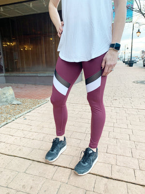 Deep Plum Color Block Leggings- large