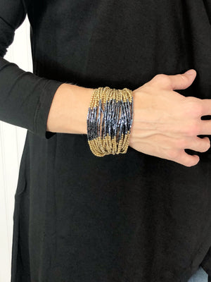 Gold and Gunmetal Multi Layer Seed Bead Bracelet