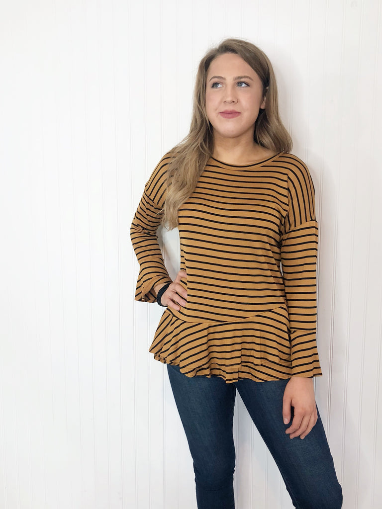 Gold Striped Ruffle Top With Bell Sleeve