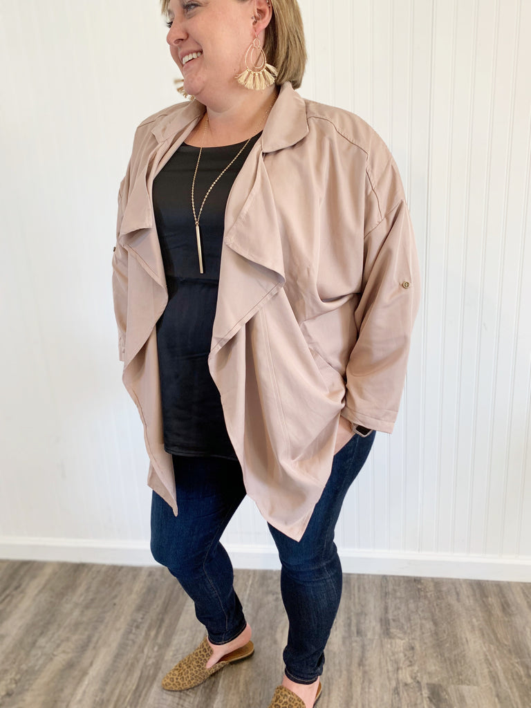 Plus Size Light Mocha Draped Trench Coat