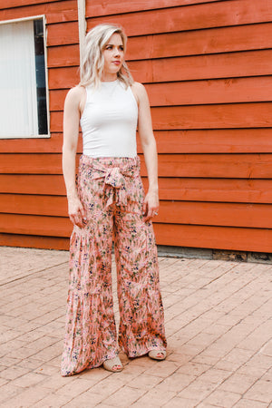 Maggie Tie Waist Pants in Blush Floral