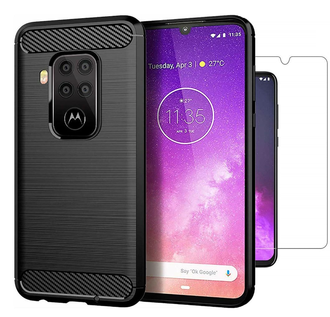 Motorola One Zoom Case Carbon Fibre Black & Glass Screen Protector