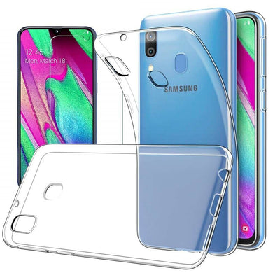 Samsung Galaxy A40 Case Clear Gel Cover & Tempered Glass Screen Protector