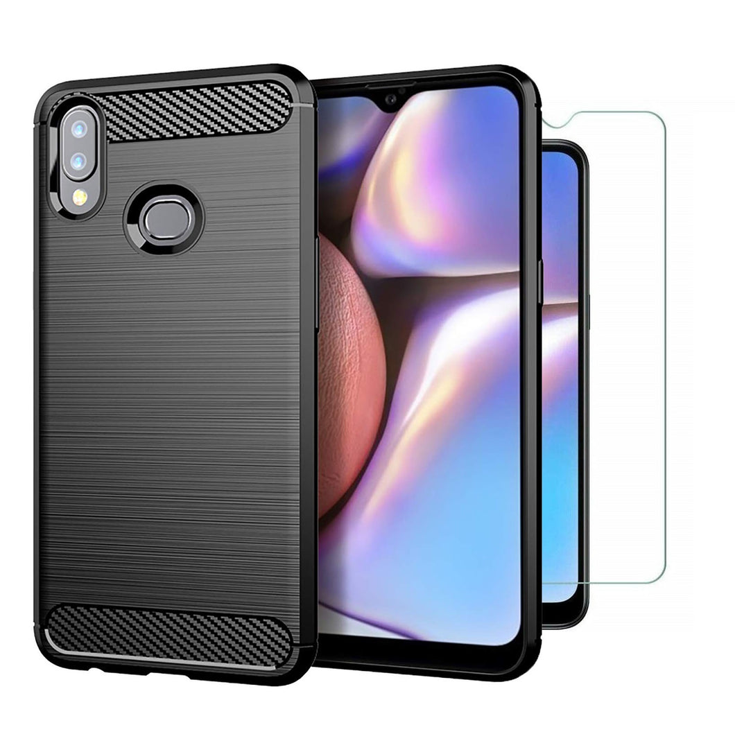 Samsung Galaxy A10s Case Carbon Fibre Black & Glass Screen Protector