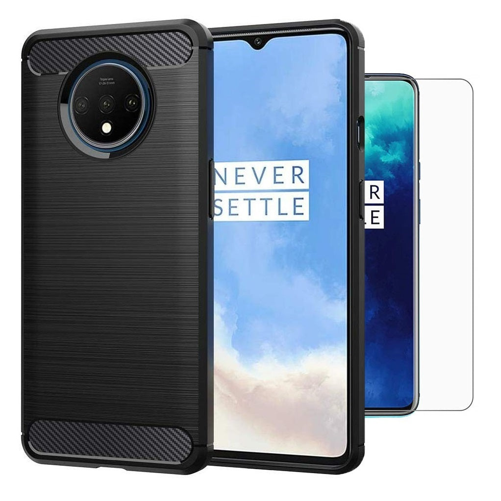 OnePlus 7T Case Carbon Fibre Black & Glass Screen Protector