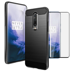 OnePlus 7 Pro Case Carbon Fibre Black & Full Glass Screen Protector