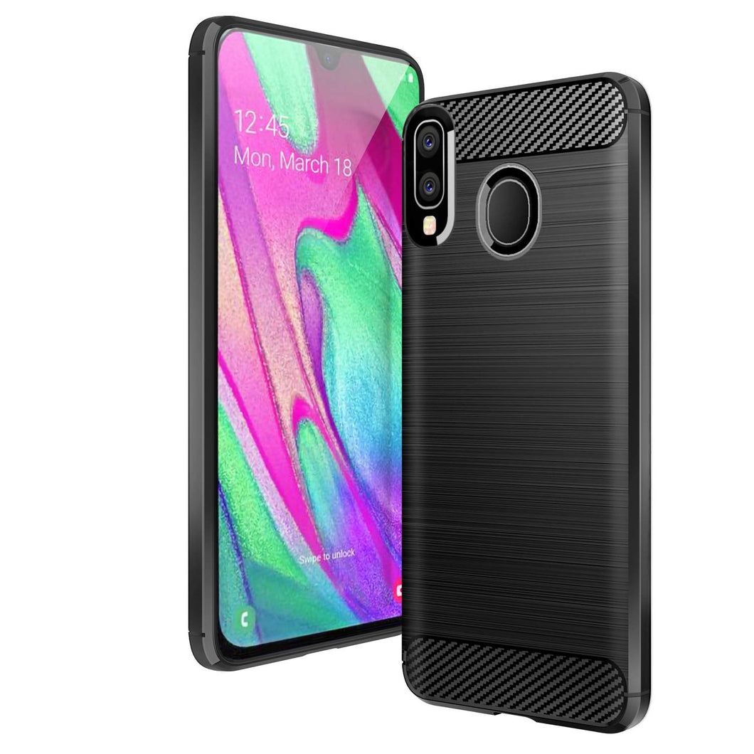 Samsung Galaxy A40 Case Carbon Fibre Black