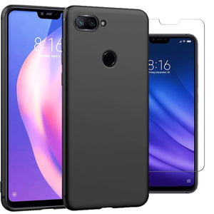 Xiaomi Mi 8 Lite Case Soft Gel Matte Black & Glass Protector