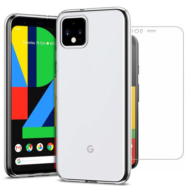Google Pixel 4 XL Case Clear Gel Cover & Tempered Glass Screen Protector