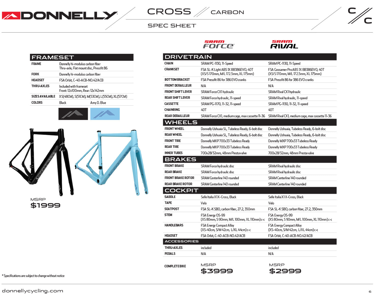 Donnelly C//C Cross Carbon cyclocross frame
