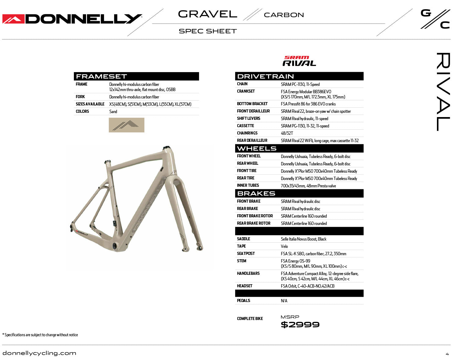Donnelly G//C Gravel Carbon gravel bike