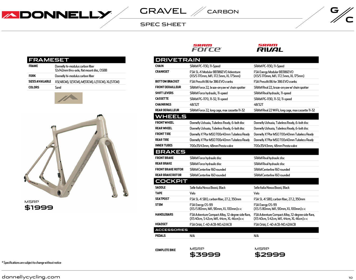 Donnelly GC Gravel Bike Frame