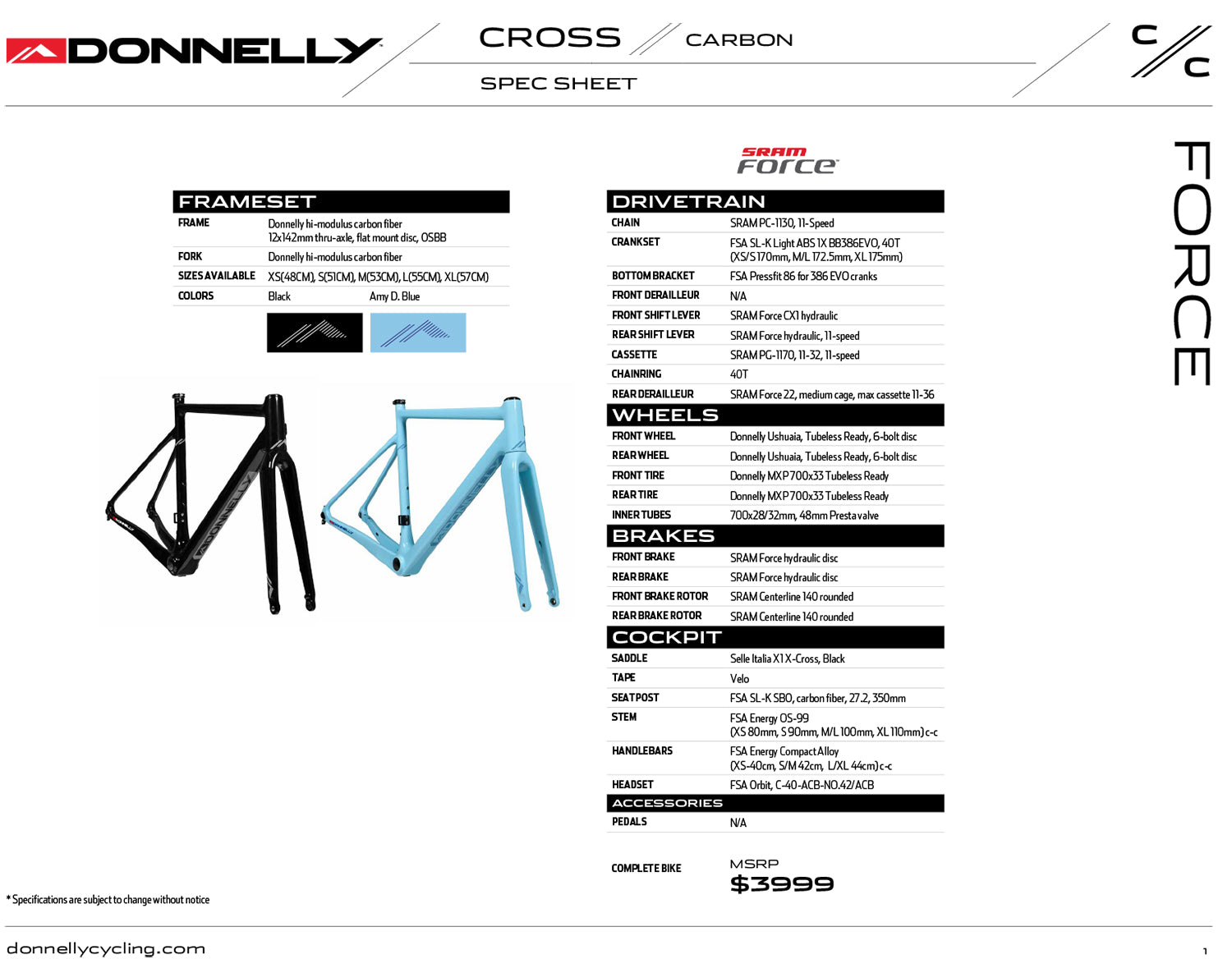 Donnelly C//C Cyclocross Bike - Sram Force