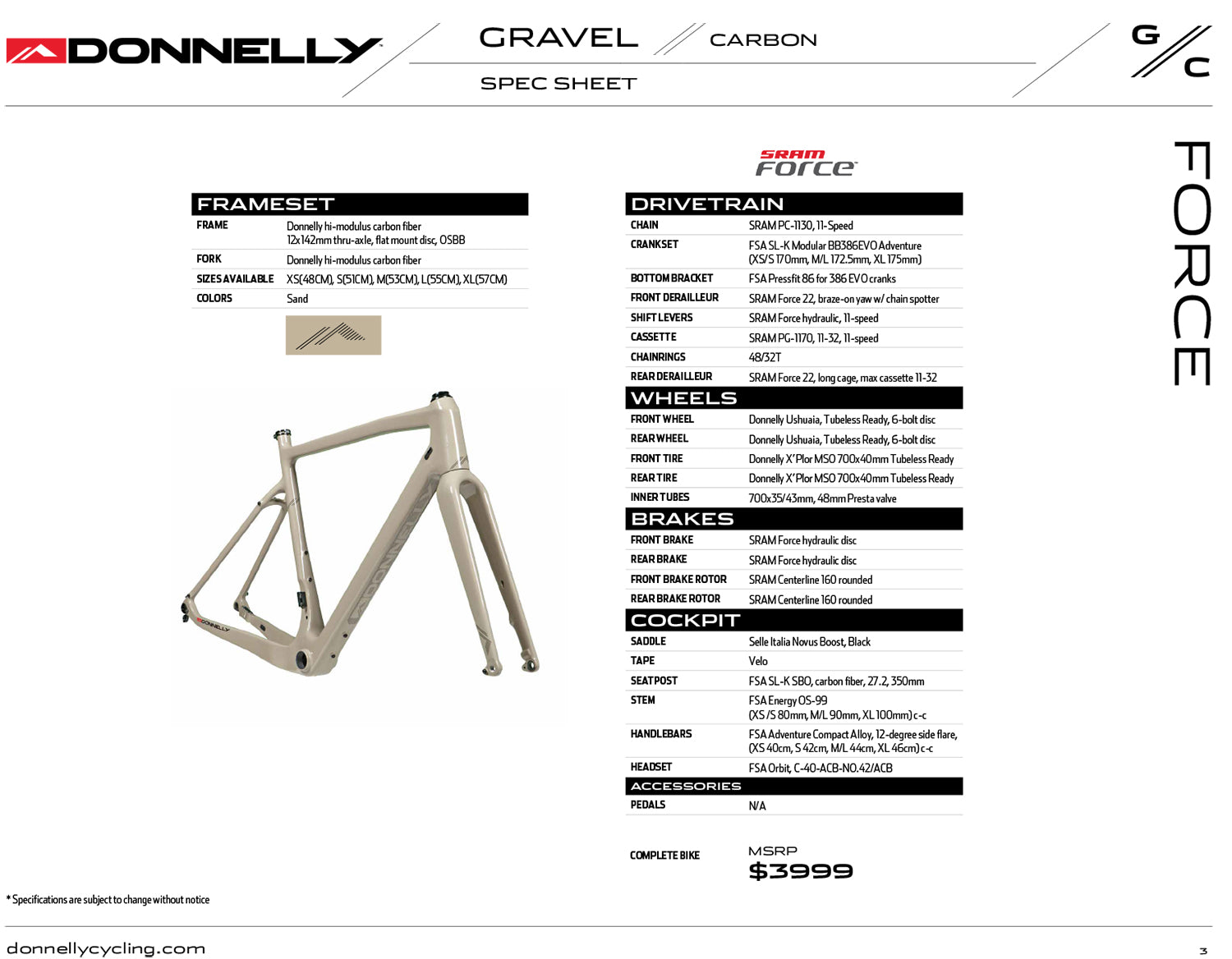 Donnelly G//C Gravel Bike - Sram Force