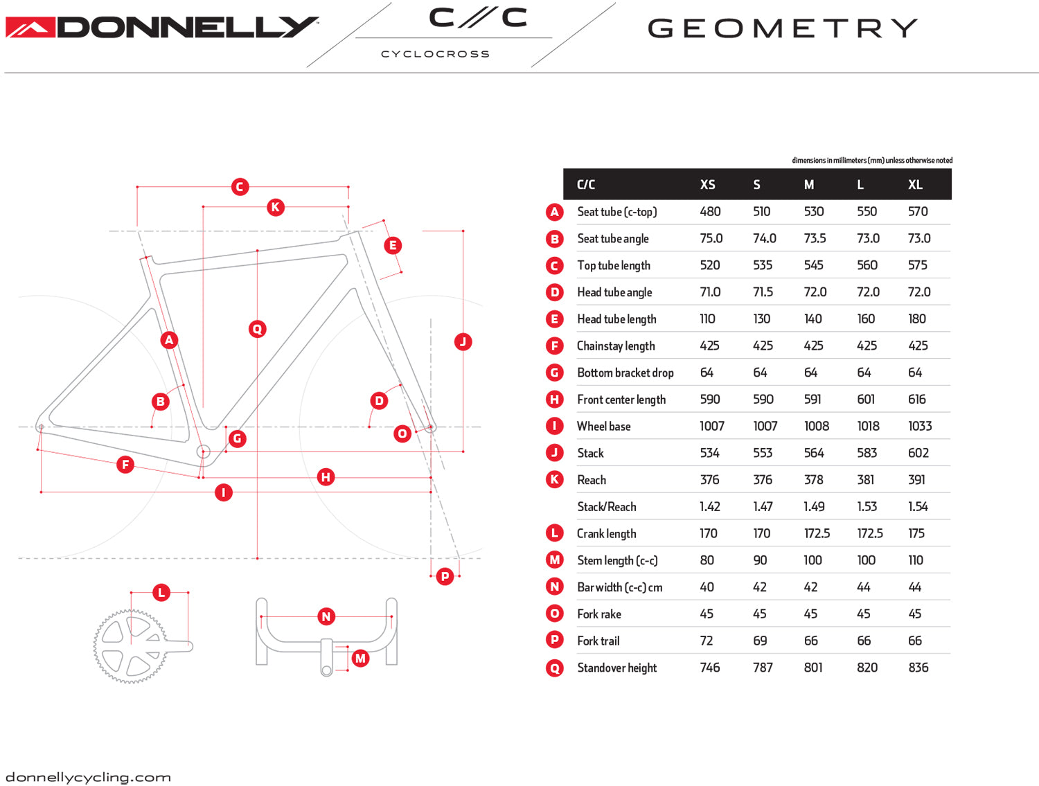 Donnelly CC Cyclocross Bike Frame Geometry Chart