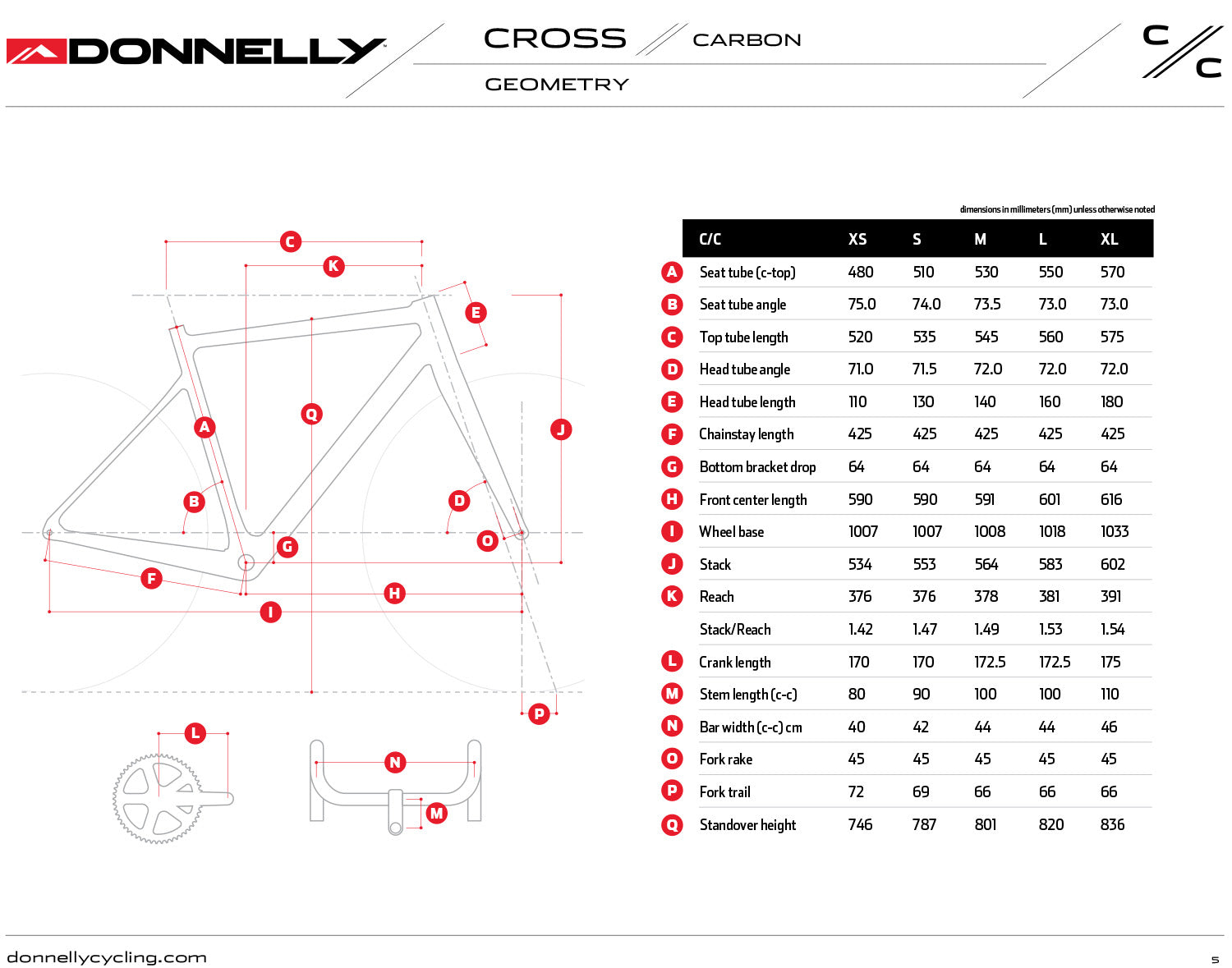 Donnelly C//C Cross Carbon cyclocross bike geometry chart