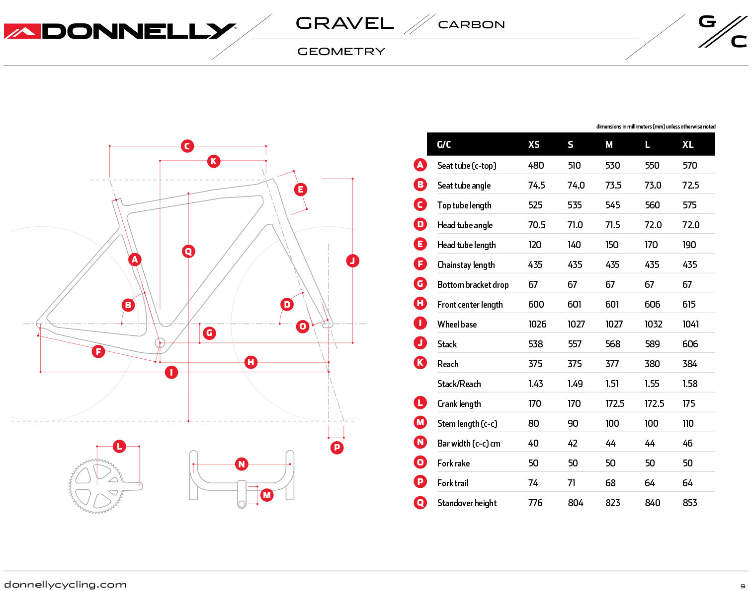 Donnelly G//C Gravel Carbon bike geometry chart
