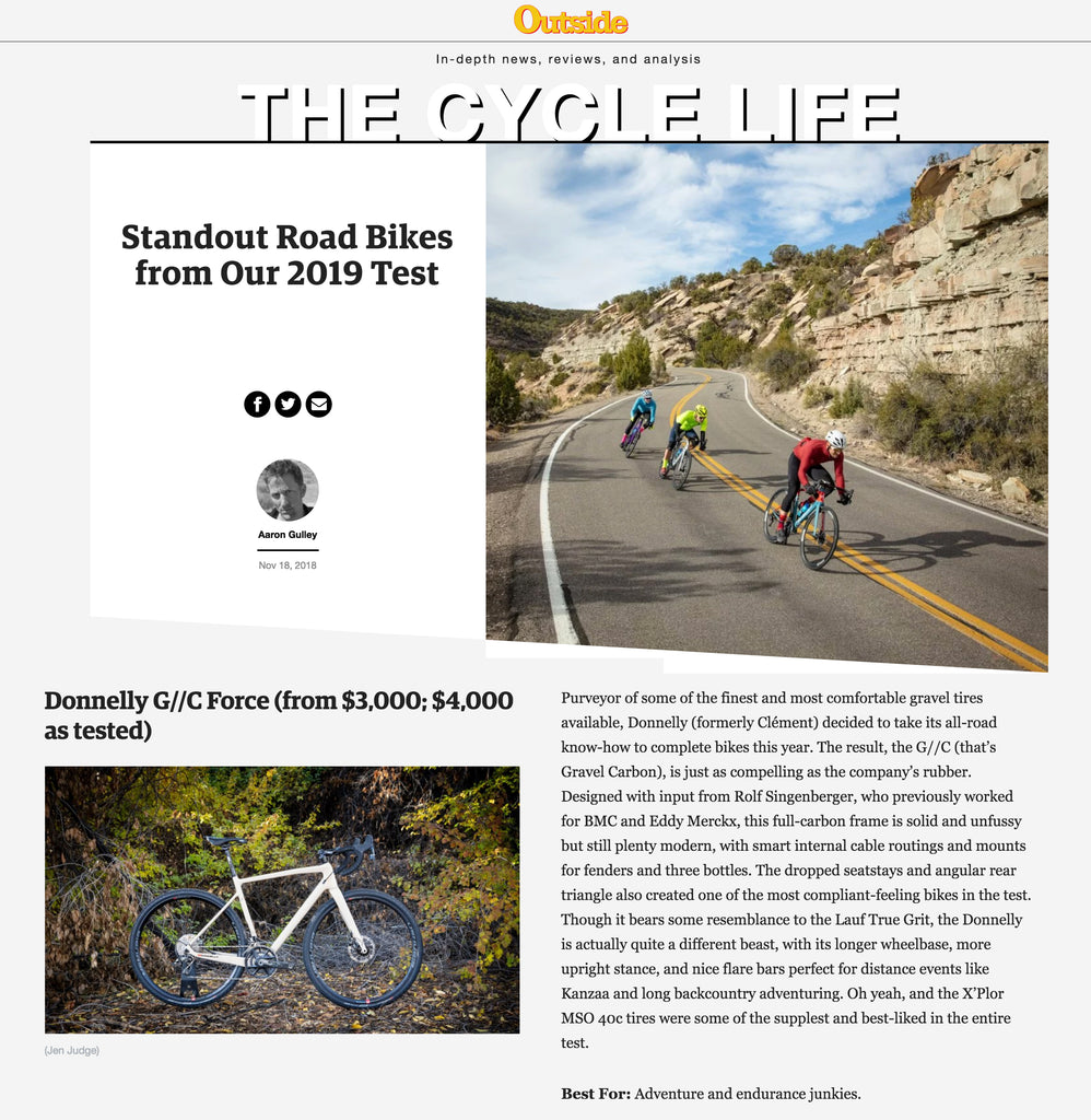 Outside Magazine Donnelly Gravel Bike Review