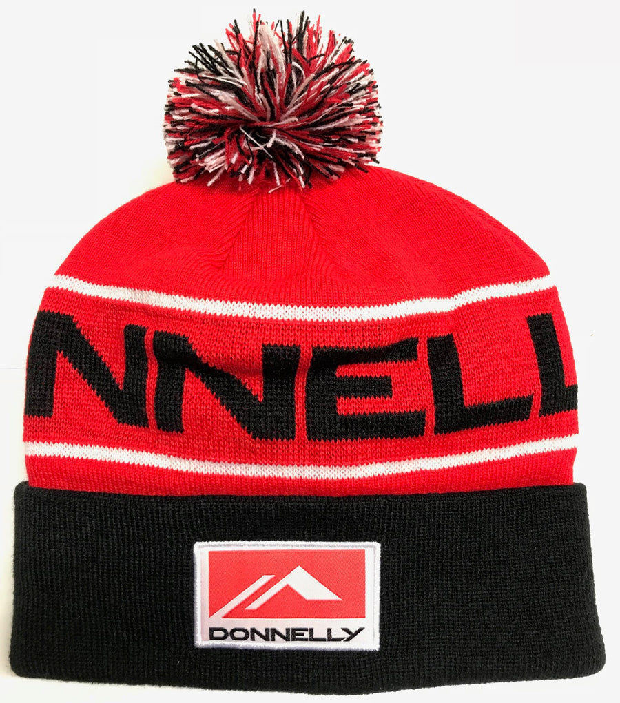 Donnelly Beanie Hat - Pom Pom, Red/Black