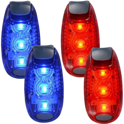 4pcs Safety LED Light for Runners Bikes Dogs Kids Boats Flashing/Warning Strobe High Visibility Clip Light for Running Walking Jogging (Blue & Red)