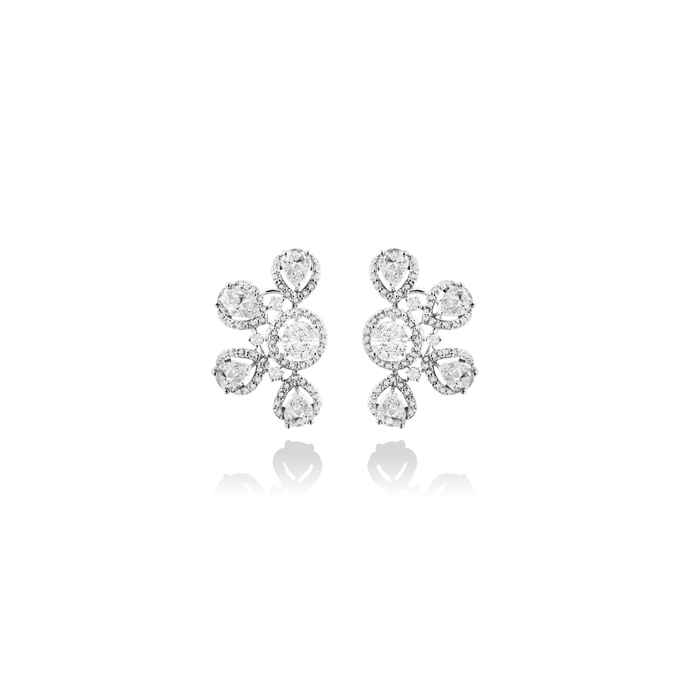 m2l moiety flower earring in sterling silver