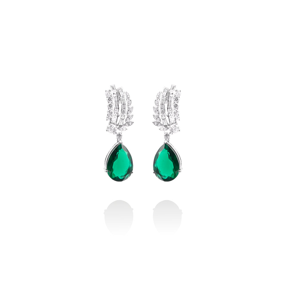 m2l exotic emeralite n crystal earring in sterling silver