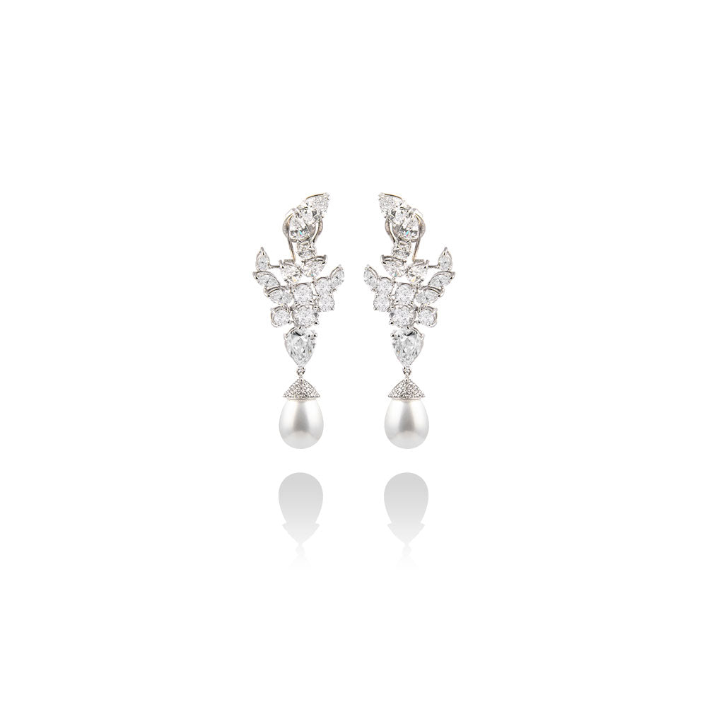 m2l leaves with pearl drop earring in sterling silver
