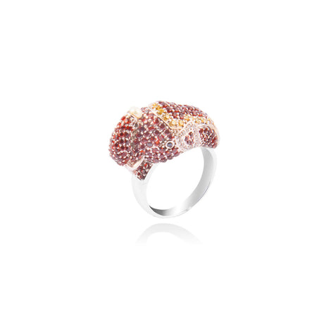 m2l red crystal tusker ring in sterling silver