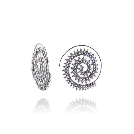 m2l black spiral earring in sterling silver