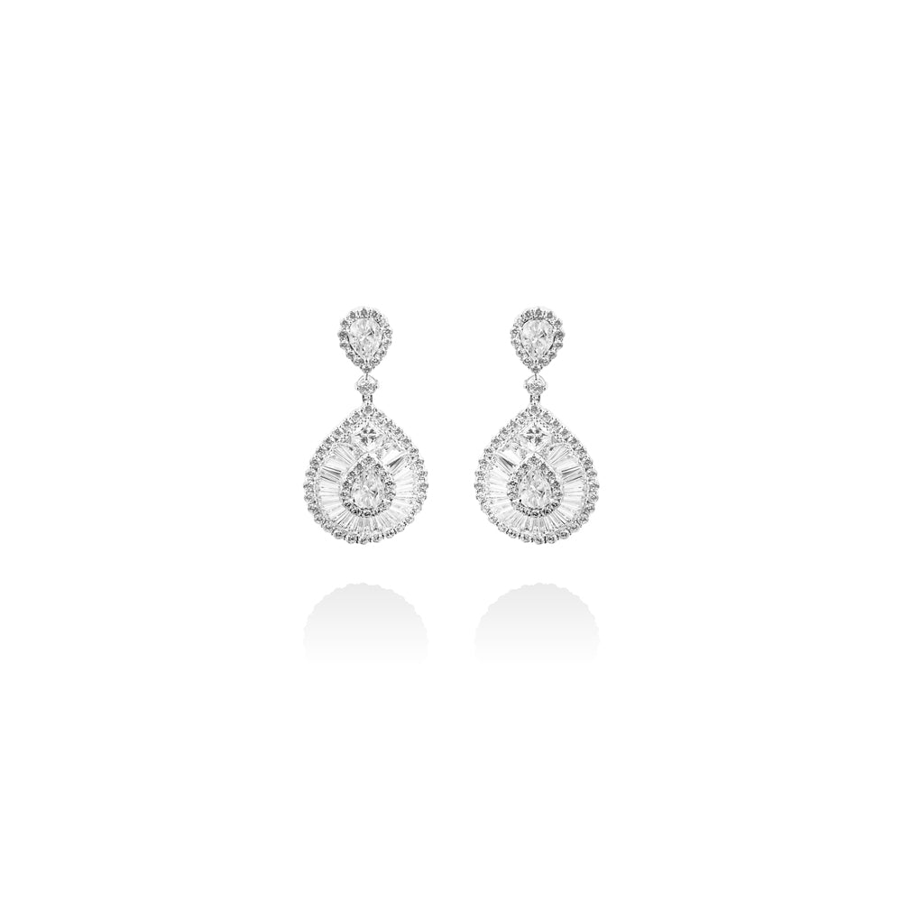 m2l crystal drop earring in sterling silver