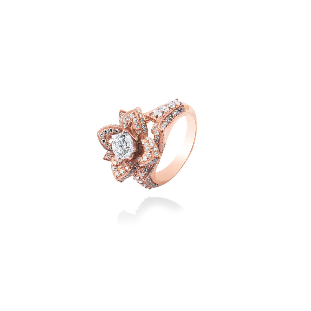 m2l rose gold floret ring in sterling silver