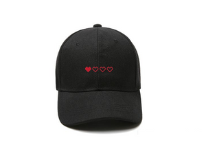 Retro Hearts Black Dad Hat