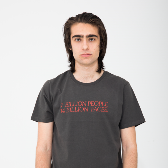 7 Billion People, 14 Billion Faces Asphalt T-Shirt