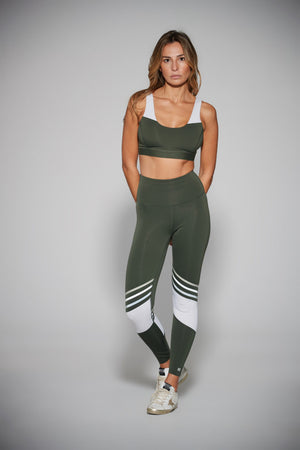 Spirit Legging: Olive & White