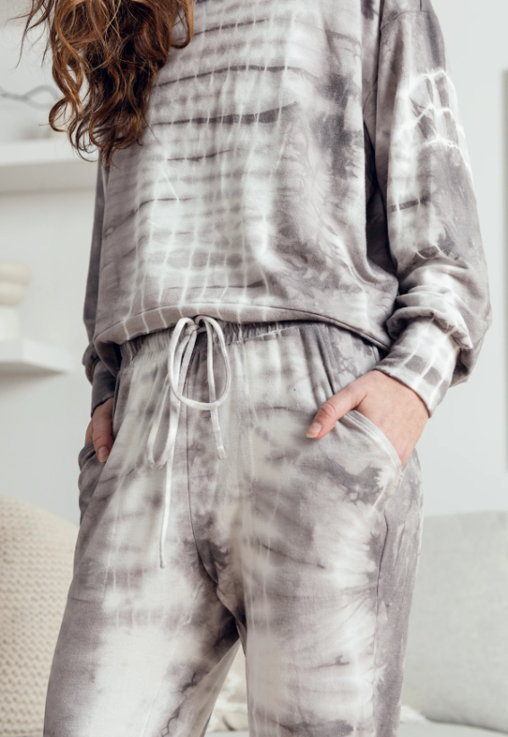 Lounge Jogger: Grey Taupe Tie Dye