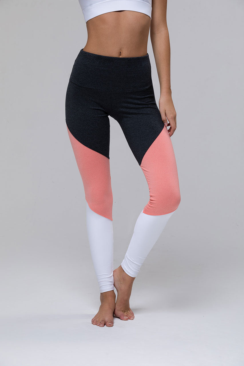 High Rise Track Legging: Peach