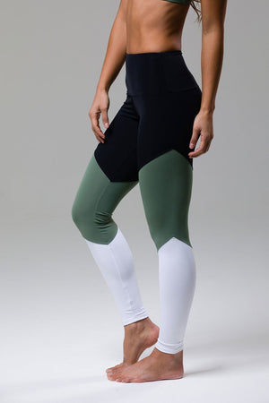 High Rise Track Legging: Sage
