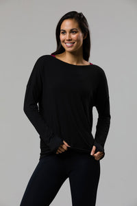 Diamond Back Long Sleeve Top: Black