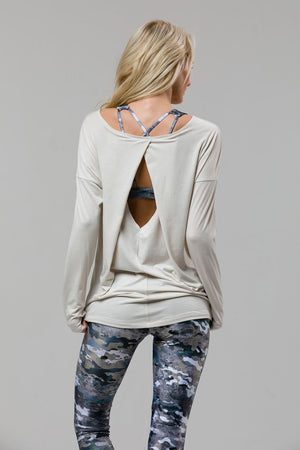 Diamond Back Long Sleeve Top: Ivory