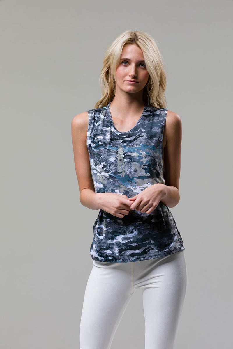 Twist Back Top: Marble Camo