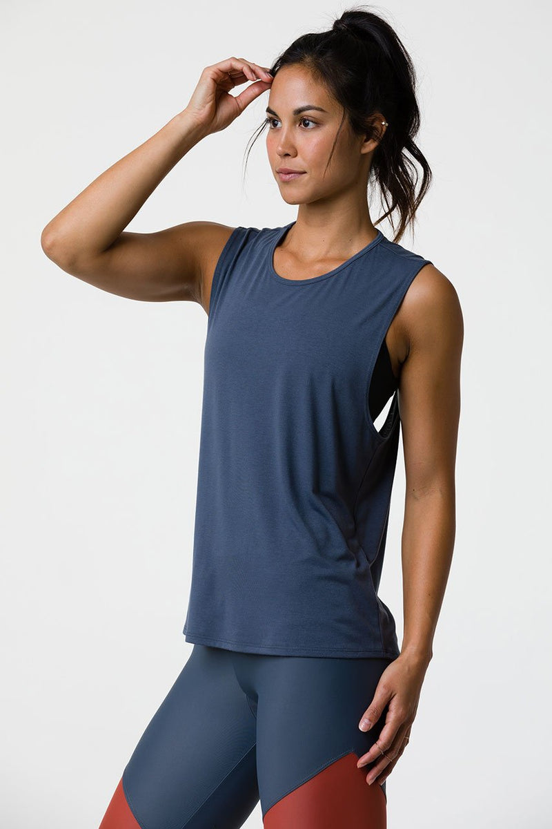 Twist Back Top: Slate Gray