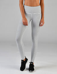 High Power Legging White with Black Stripes