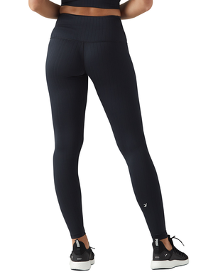 High Power Legging: Black Flat Rib