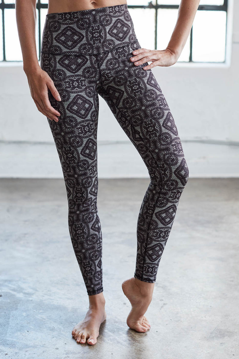 High Waist Signature Legging: Charcoal Baroque
