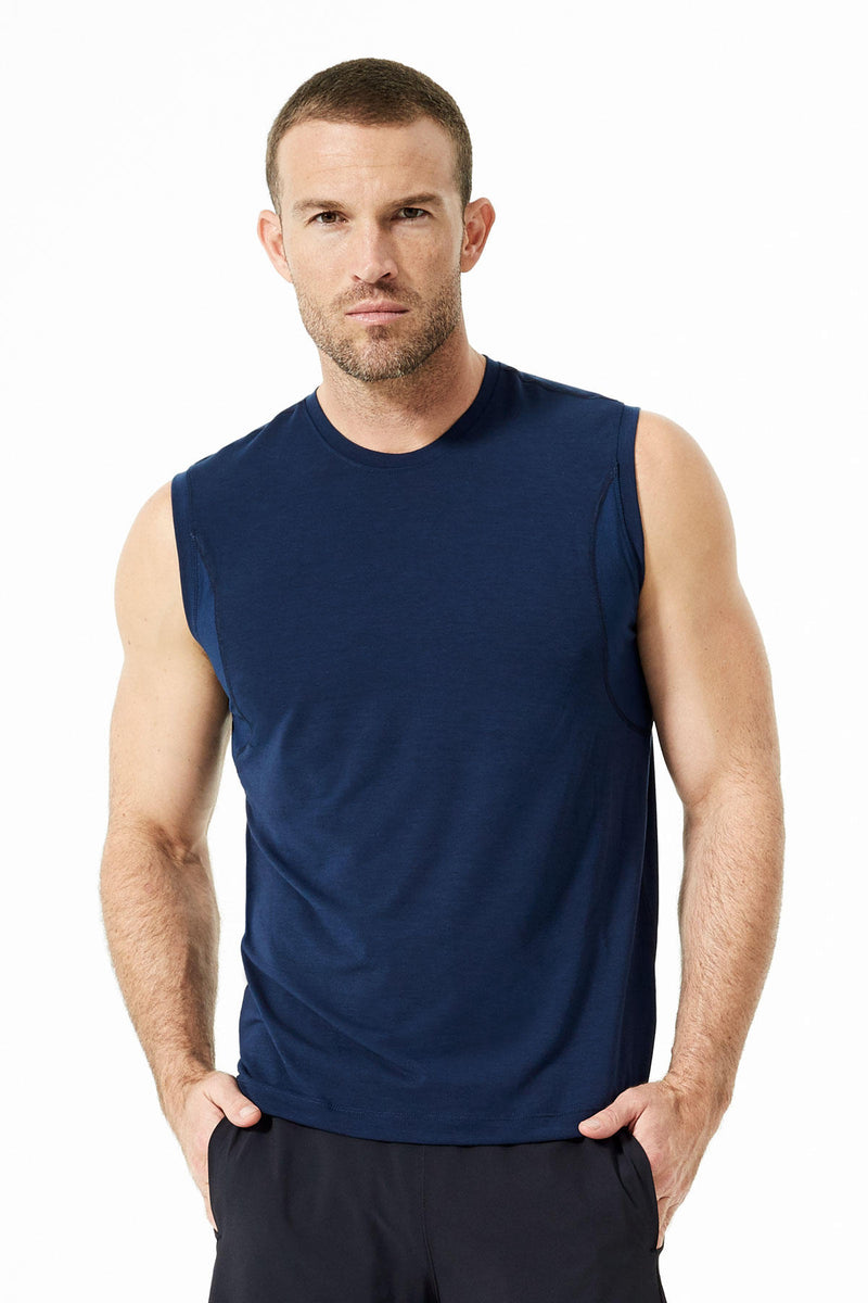 Solar 2.0 Sleeveless Tee: Navy Sky