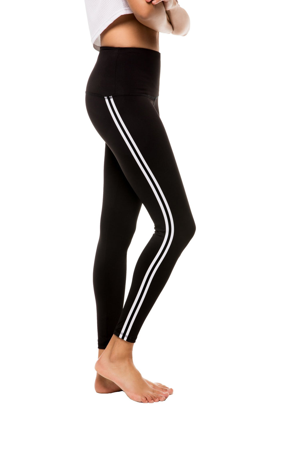 Sage Legging: Black Track Stripe