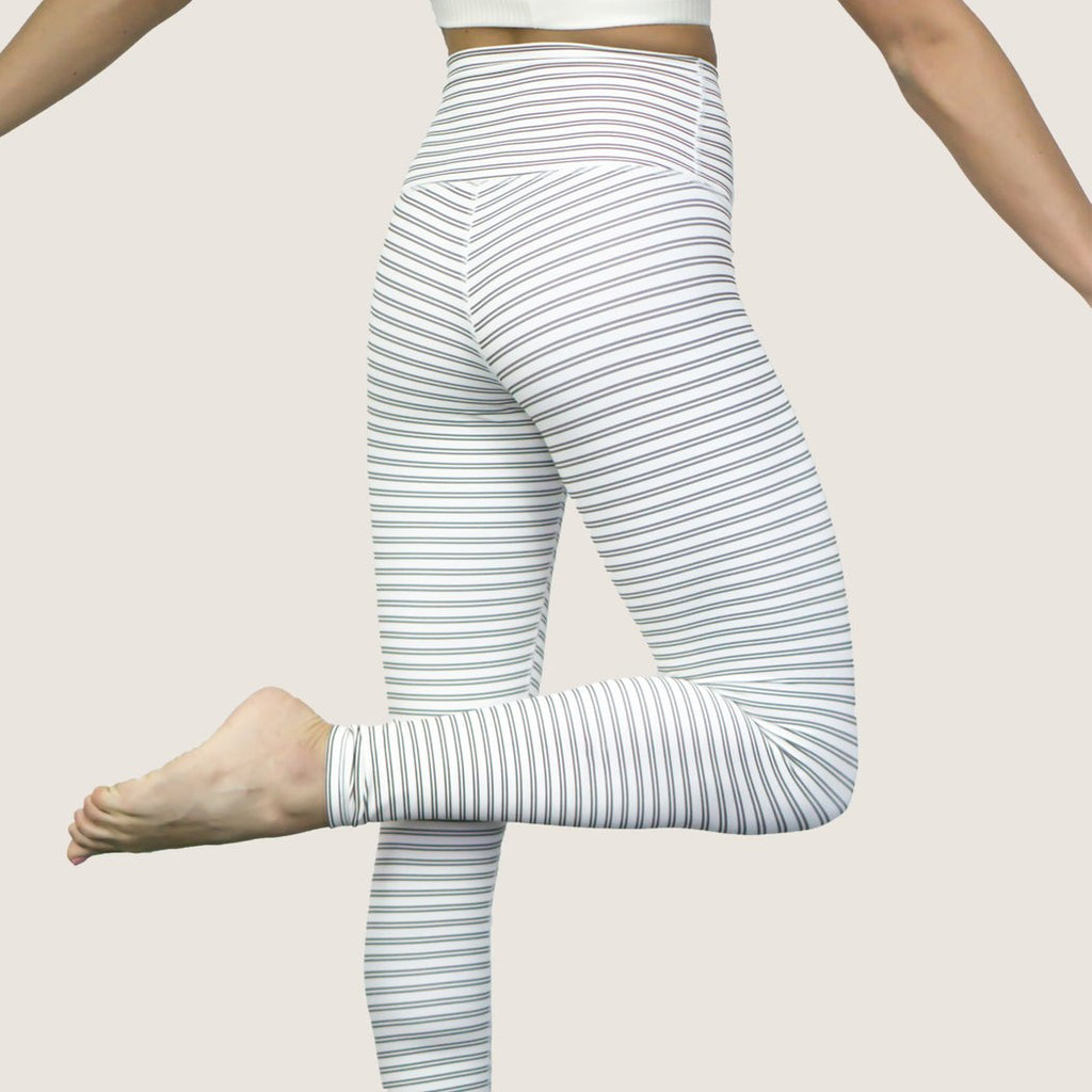 High Waist Signature Legging: Cacao + Pearl Stripe