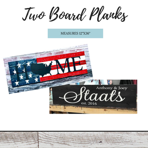 "Retail- Two Board Plank 12""x36"""