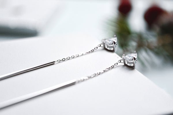 silver long thread heart shaped earrings