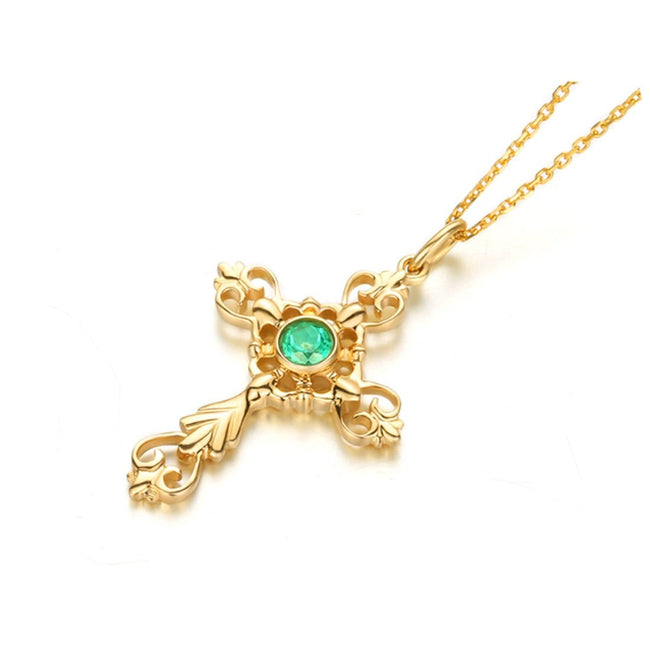 """Esther"" Yellow Gold Cross Pendant Necklace"